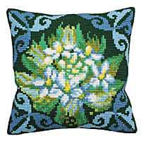 Blue Ledum Cross Stitch Cushion Kit by Collection D'Art