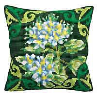 Green Ledum Printed Cross Stitch Cushion Kit by Collection D'Art
