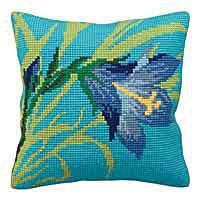 Wild Lily Printed Cross Stitch Cushion Kit by Collection D'Art.
