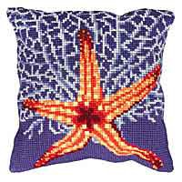 White Starfish Printed Cross Stitch Cushion Kit by Collection D'Art