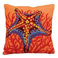 Orange Starfish Printed Cross Stitch Cushion Kit by Collection D'Art