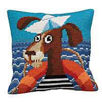 Sailor Printed Cross Stitch Cushion Kit by Collection D'Art.