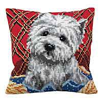 Bichon Printed Cross Stitch Cushion Kit by Collection D'Art.
