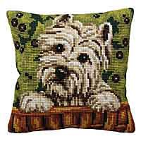 Westie Printed Cross Stitch Cushion Kit by Collection D'Art.