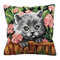 Minou Cross Stitch Cushion Kit by Collection D'Art.