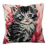Mistigri Printed Cross Stitch Cushion Kit by Collection D'Art.