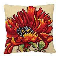 Delicious Poppy Cross Stitch Cushion Kit by Collection D'Art.