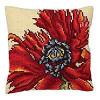 Extravagant Poppy Cross Stitch Cushion Kit by Collection D'Art.