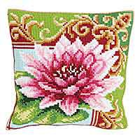 Luxurious Lily Printed Cross Stitch Cushion Kit by Collection D'Art