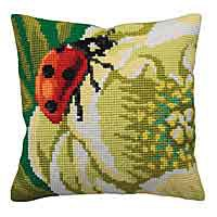 Ladybird Cross Stitch Cushion Kit by Collection D'Art.