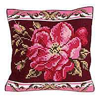 Romantic Rose Printed Cross Stitch Cushion Kit by Collection D'Art
