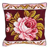 Romantic Rose Printed Cross Stitch Cushion Kit by Collection D'Art.