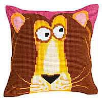 King Leon Printed Cross Stitch Cushion Kit by Collection D'Art.