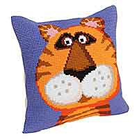 Terrence the Tiger Printed Cross Stitch Cushion Kit by Collection D'Art.