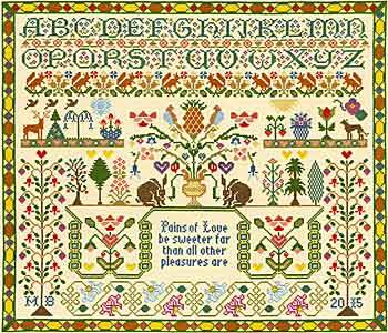Pains of Love Sampler Cross Stitch Kit By Bothy Threads
