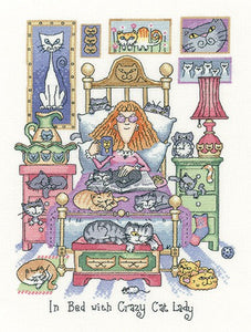 In Bed With Crazy Cat Lady Cross Stitch Kit by Heritage Crafts