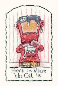 Home is Where the Cat is Cross Stitch Kit by Heritage Crafts
