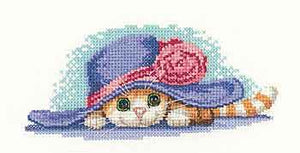 Cat in Hat Cross Stitch Kit by Heritage Crafts