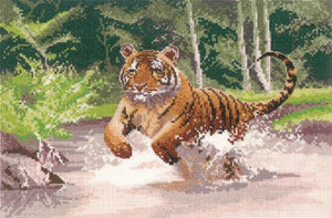 Tiger Cross Stitch Kit by Heritage Crafts