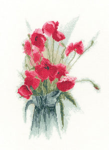 Jug of Poppies Cross Stitch Kit by Heritage Crafts