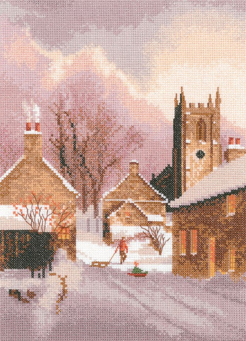 Snowy Village Cross Stitch Kit by Heritage Crafts