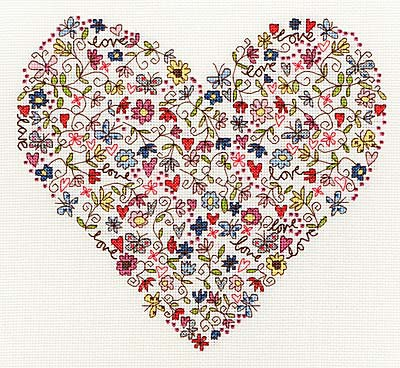 Love Heart Cross Stitch Kit By Bothy Threads