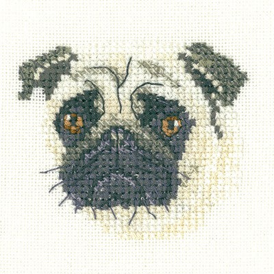 Pug Cross Stitch Kit by Heritage Crafts