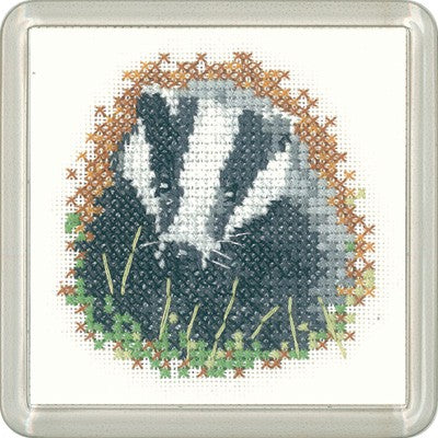 Badger Cross Stitch Coaster Kit by Heritage Crafts