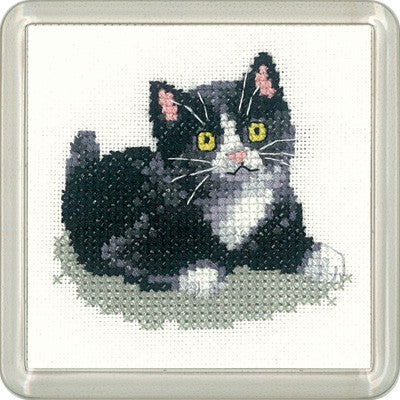 Black and White Kitten Cross Stitch Coaster Kit by Heritage Crafts