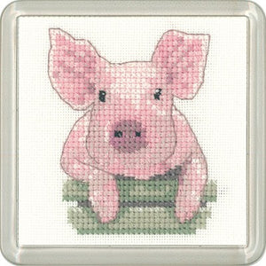 Pig Cross Stitch Coaster Kit by Heritage Crafts