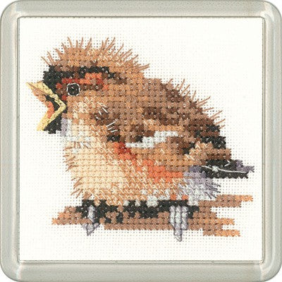 Sparrow Cross Stitch Coaster Kit by Heritage Crafts