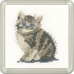 Tabby Kitten Cross Stitch Coaster Kit by Heritage Crafts