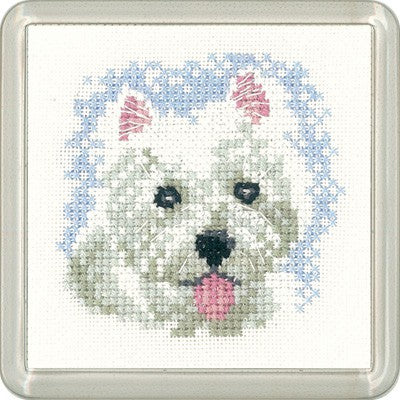 Westie Puppy Cross Stitch Coaster Kit by Heritage Crafts