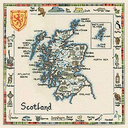 Map of Scotland Cross Stitch Kit by Heritage Crafts