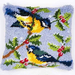 Blue Tits Latch Hook Cushion Kit By Vervaco
