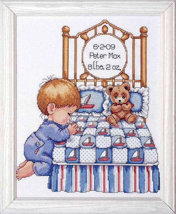 Bedtime Prayer Boy Birth Sampler Cross Stitch Kit By Design Works
