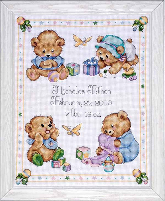 Bear Birth Sampler Cross Stitch Kit By Design Works