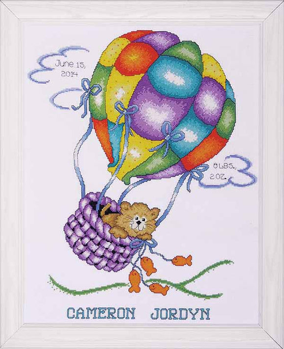 Up Up and Away Birth Sampler Cross Stitch Kit By Design Works