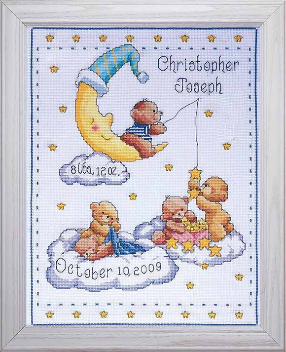 Heavenly Bears Birth Sampler Cross Stitch Kit By Design Works
