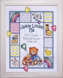 Jesus Loves Me Birth Sampler Cross Stitch Kit By Design Works