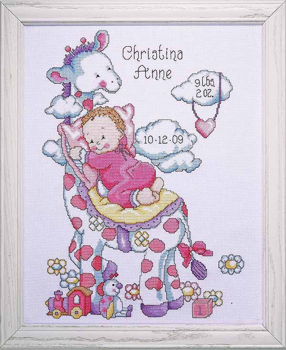 Giraffe Baby Girl Birth Sampler Cross Stitch Kit By Design Works