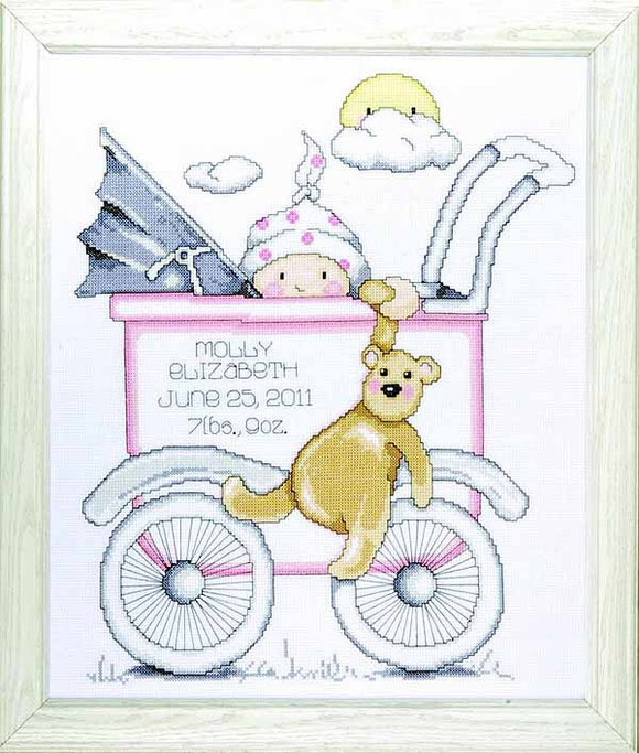 Buggy Girl Birth Sampler Cross Stitch Kit By Design Works