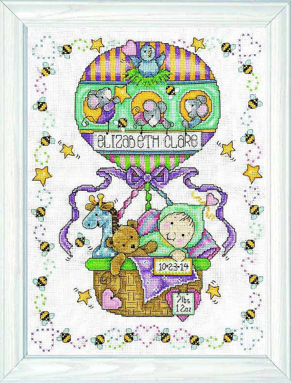 Balloon Ride Birth Sampler Cross Stitch Kit By Design Works