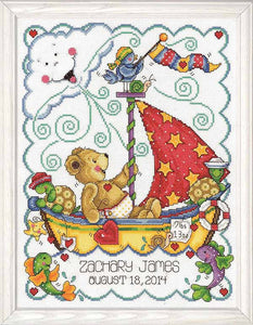 Sail Away Birth Sampler Cross Stitch Kit By Design Works