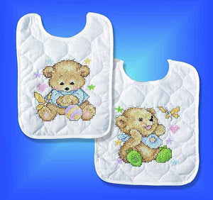 Baby Bears Printed Cross Stitch Bibs Kit By Design Works
