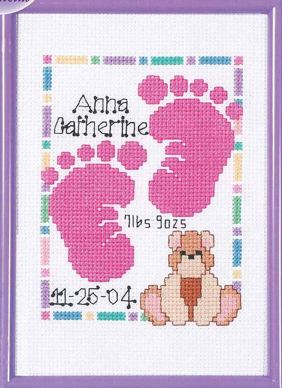 Baby Footprints Birth Sampler Cross Stitch Kit by Janlynn