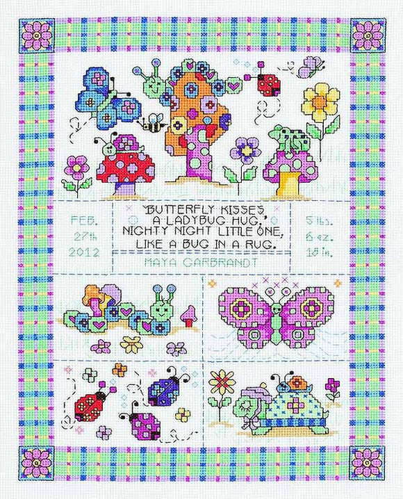 Bug in a Rug Birth Sampler Cross Stitch Kit by Janlynn