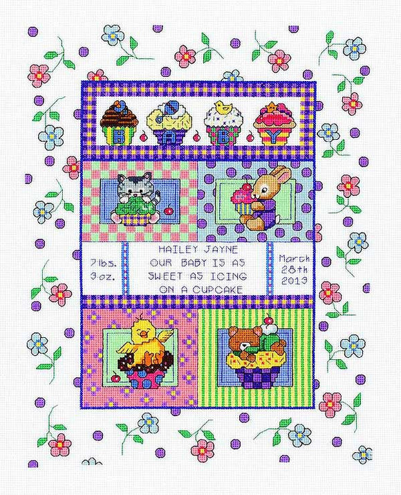 Sweet as a Cupcake Birth Sampler Cross Stitch Kit by Janlynn