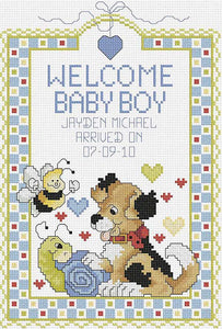 Welcome Baby Boy Birth Sampler Cross Stitch Kit by Janlynn