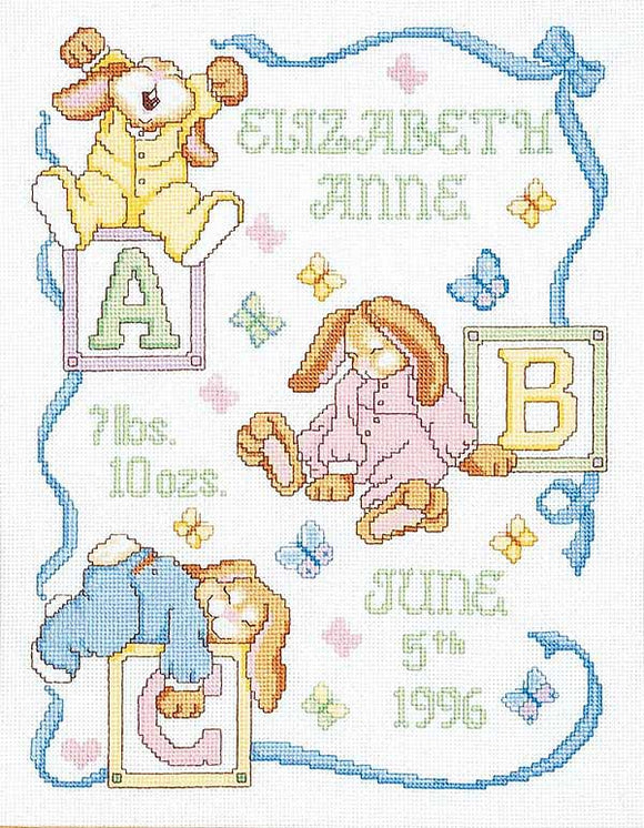 Sleepy Bunnies Birth Sampler Cross Stitch Kit by Janlynn